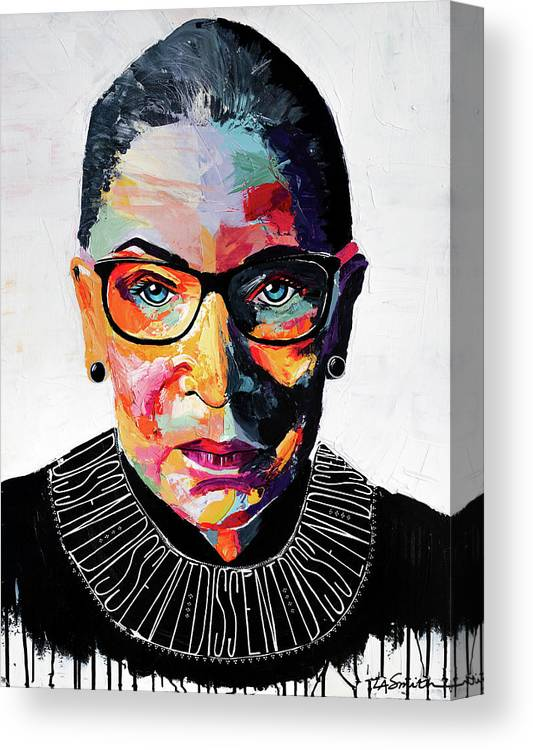 Portrait Canvas Print featuring the painting Dissent by LA Smith