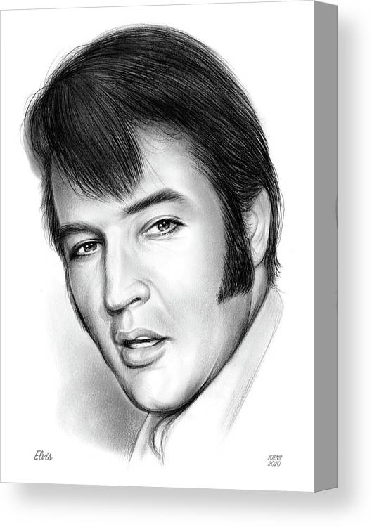 Elvis Presley Canvas Print featuring the drawing Elvis 3 by Greg Joens