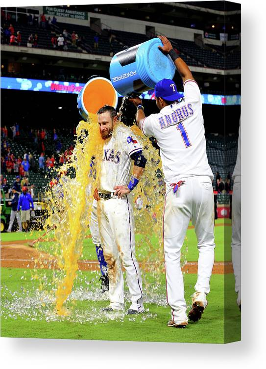People Canvas Print featuring the photograph Elvis Andrus and Jonathan Lucroy by Rick Yeatts
