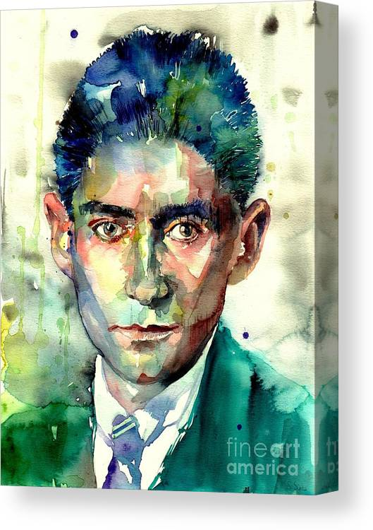 Franz Kafka Canvas Print featuring the painting Franz Kafka Portrait by Suzann Sines