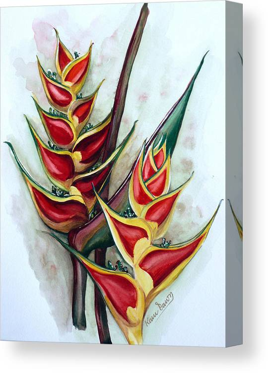 Caribbean Painting Flower Painting Floral Painting Heliconia Painting Original Watercolor Painting Of Heliconia Bloom  Trinidad And Tobago Painting Botanical Painting Canvas Print featuring the painting Heliconia Tropicana Trinidad by Karin Dawn Kelshall- Best