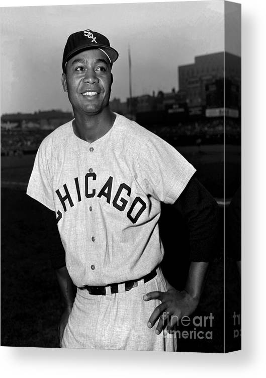 People Canvas Print featuring the photograph Jackie Robinson and Larry Doby by Kidwiler Collection