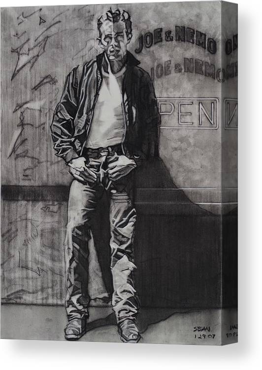 Charcoal On Paper Canvas Print featuring the drawing James Dean by Sean Connolly