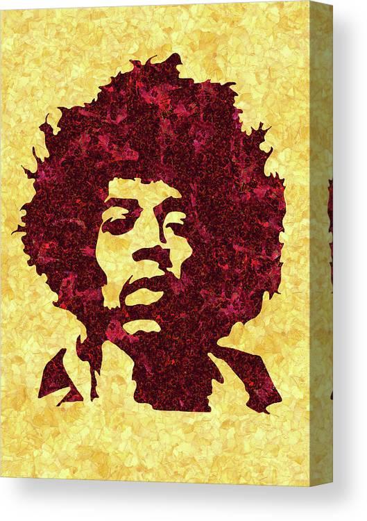 Jimi Hendrix Print Canvas Print featuring the mixed media Jimi Hendrix Print, Jimi Hendrix Poster, Rock Music Lovers Gift by Irina Pospelova