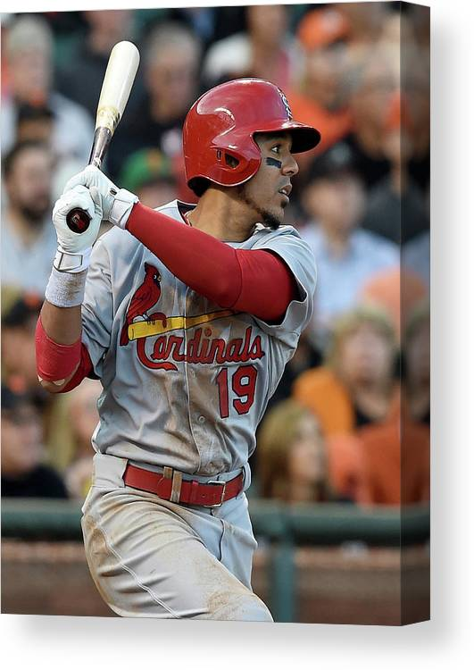 St. Louis Cardinals Canvas Print featuring the photograph Jon Jay by Thearon W. Henderson