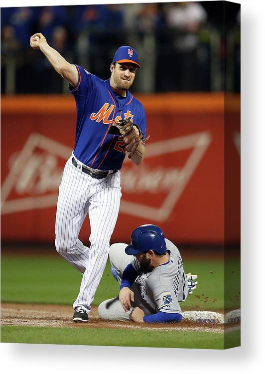 Playoffs Canvas Print featuring the photograph Mike Moustakas and Daniel Murphy by Brad Mangin
