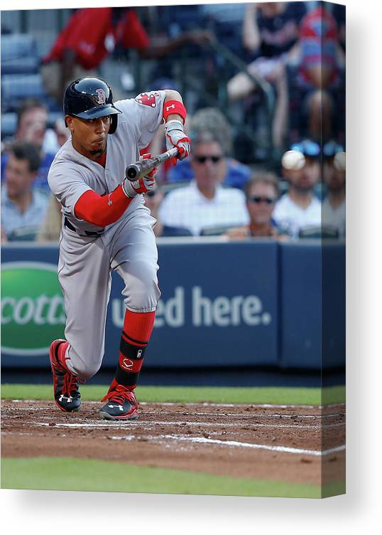 Atlanta Canvas Print featuring the photograph Mookie Betts by Mike Zarrilli