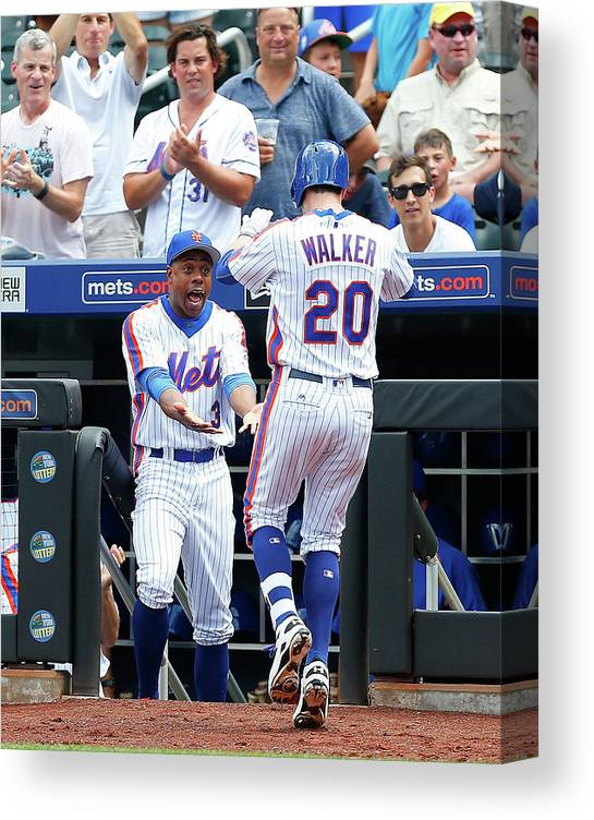 American League Baseball Canvas Print featuring the photograph Neil Walker and Curtis Granderson by Jim Mcisaac