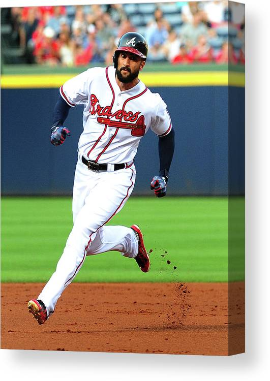 Atlanta Canvas Print featuring the photograph Nick Markakis by Scott Cunningham