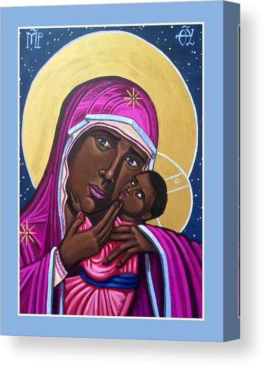 Canvas Print featuring the painting Our Lady Mother of the Streets by Kelly Latimore