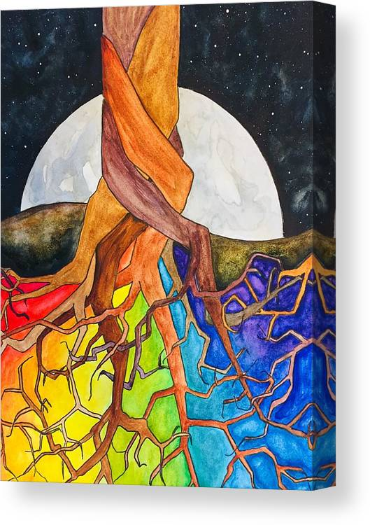 Rainbow Canvas Print featuring the painting Rainbow Soil with Moon by Vonda Drees