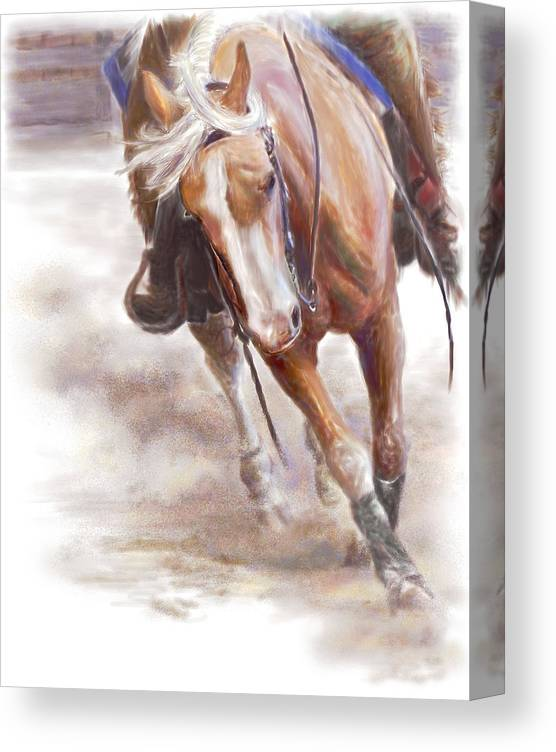 Horse Canvas Print featuring the painting Reiner's Grace- Western Reining Horse by Connie Moses