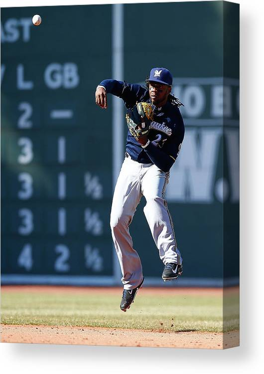 American League Baseball Canvas Print featuring the photograph Rickie Weeks by Jared Wickerham