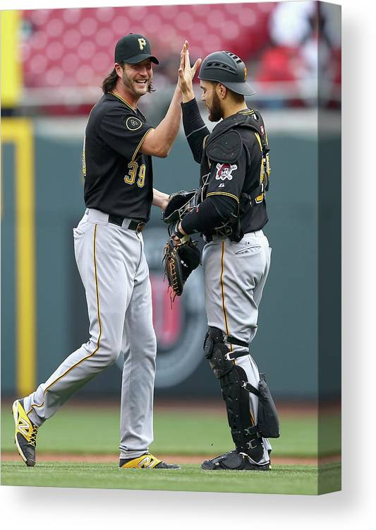Great American Ball Park Canvas Print featuring the photograph Russell Martin and Jason Grilli by Andy Lyons