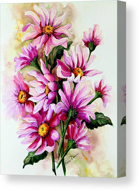 Pink Daisy Floral Painting Flower Painting Botanical Painting Bloom Painting Greeting Card Painting Canvas Print featuring the painting So Pink by Karin Dawn Kelshall- Best