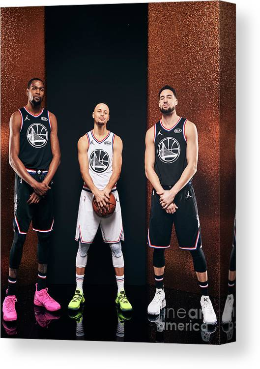 Nba Pro Basketball Canvas Print featuring the photograph Stephen Curry, Kevin Durant, and Klay Thompson by Jennifer Pottheiser