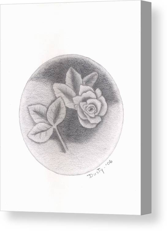Rose Canvas Print featuring the drawing Stone Rose by Dusty Reed