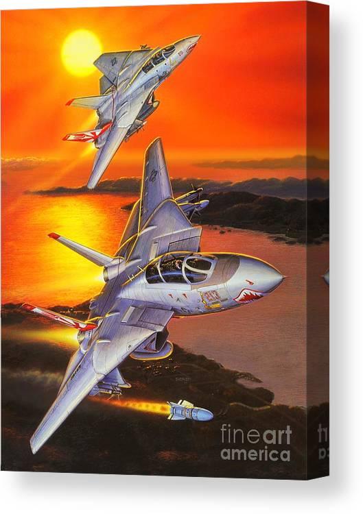 F-14 Tomcat Canvas Print featuring the painting Sundowner Tomcats by Stu Shepherd