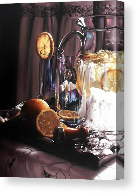 Lemons Canvas Print featuring the painting Sunkist by Dianna Ponting
