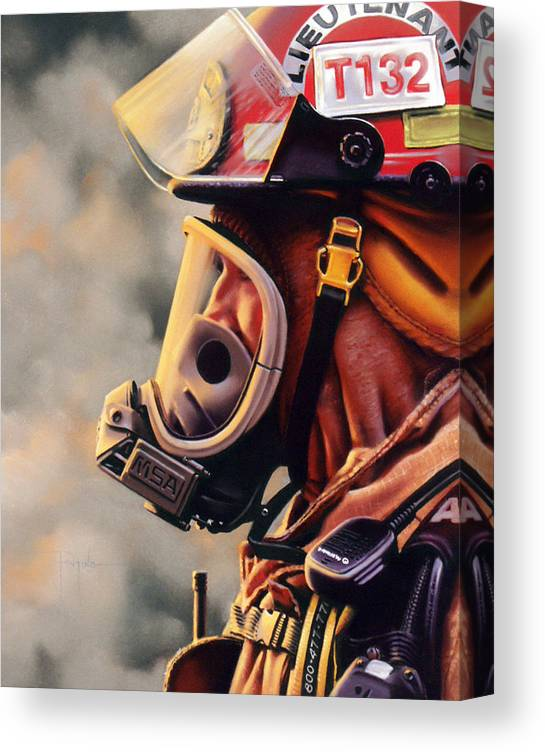 Fireman Canvas Print featuring the pastel T-132 by Dianna Ponting