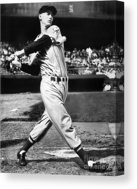 People Canvas Print featuring the photograph Ted Williams by National Baseball Hall Of Fame Library