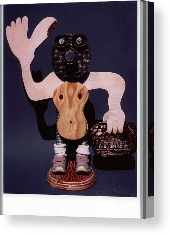 Czappa Canvas Print featuring the sculpture The Hitchhicker by Bill Czappa