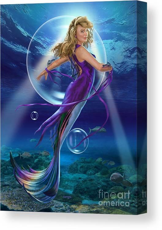 Mermaid Canvas Print featuring the digital art The SeaDancer by Stu Shepherd
