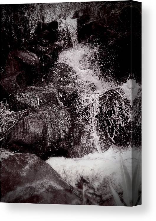 Non-urban Scene Canvas Print featuring the photograph The waterfall splashing , Thailand tourism by Natthapol Bussai