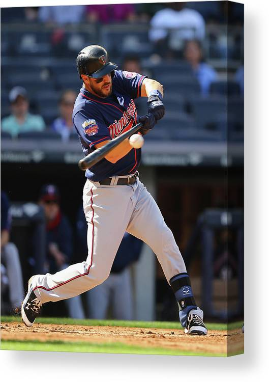 American League Baseball Canvas Print featuring the photograph Trevor Plouffe by Al Bello
