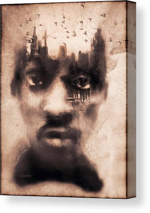 Digital Image Canvas Print featuring the digital art Urban Mindset by Regina Wyatt