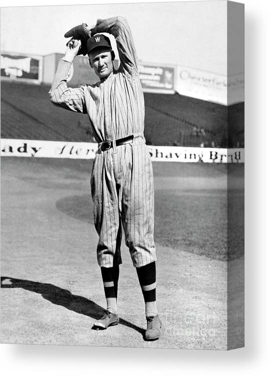 American League Baseball Canvas Print featuring the photograph Walter Johnson by National Baseball Hall Of Fame Library