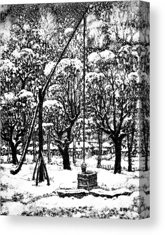 Winter Canvas Print featuring the drawing Winter Landscape by Iliyan Bozhanov
