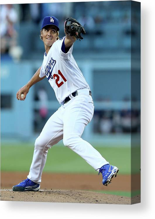 California Canvas Print featuring the photograph Zack Greinke by Stephen Dunn