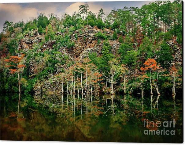 Landscape Canvas Print featuring the photograph Beaver's Bend Overlook by Tamyra Ayles