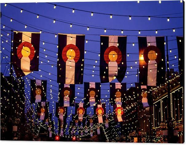 Colorado Flags on Larimer Square Denver by Teri Virbickis