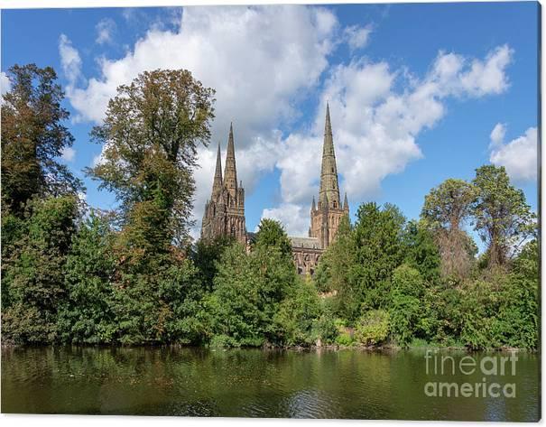 Lichfield Canvas Print featuring the photograph Lichfield spires by Steev Stamford