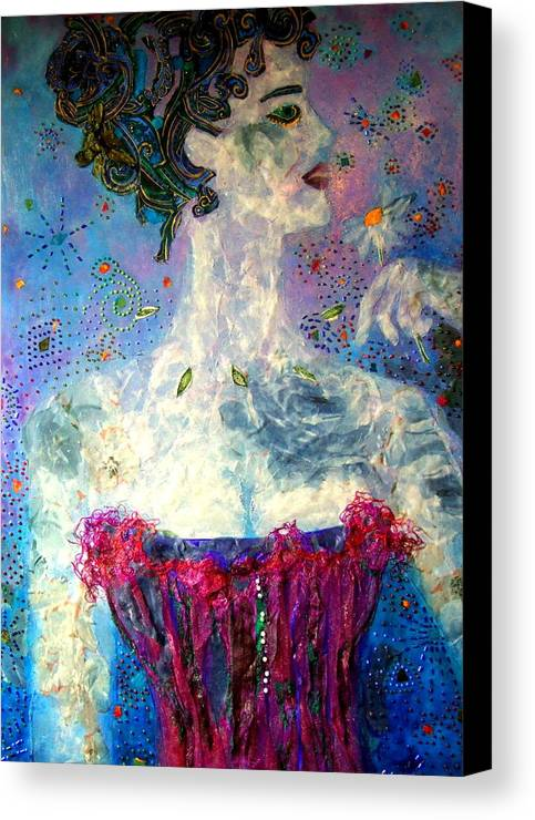 Mixed Media Collage Canvas Print featuring the mixed media Dreaming by Diane Fine