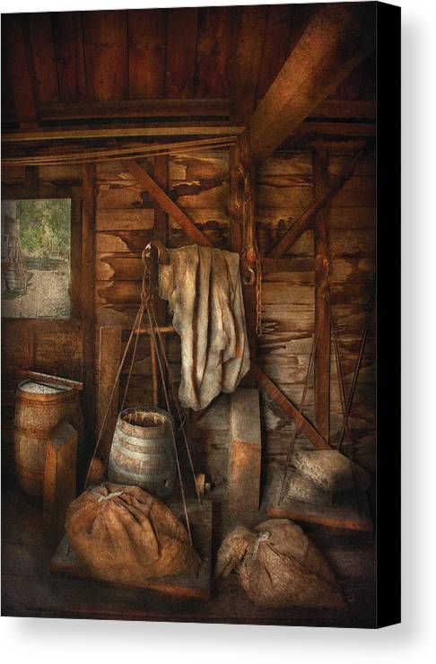 Savad Canvas Print featuring the photograph Bar - Weighing The Hops by Mike Savad