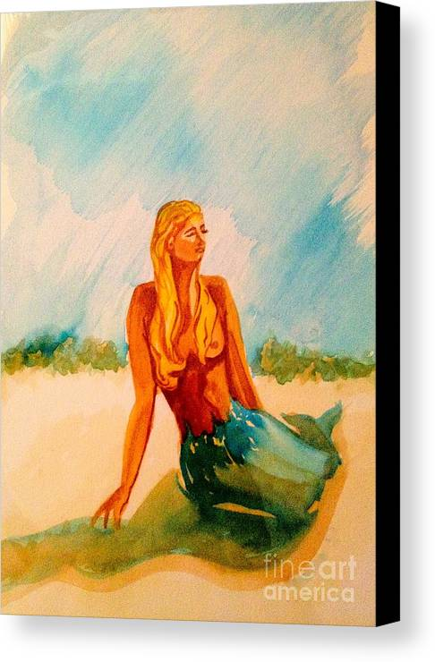 Blue Mermaid Canvas Print featuring the painting Blue Mermaid by Diane Phelps