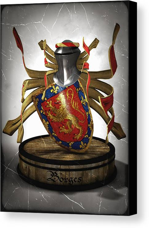 Medieval Canvas Print featuring the digital art Borges Family Coat Of Arms by Frederico Borges