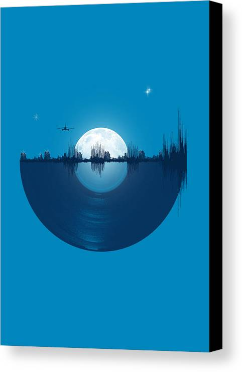 City Canvas Print featuring the digital art City Tunes by Neelanjana Bandyopadhyay