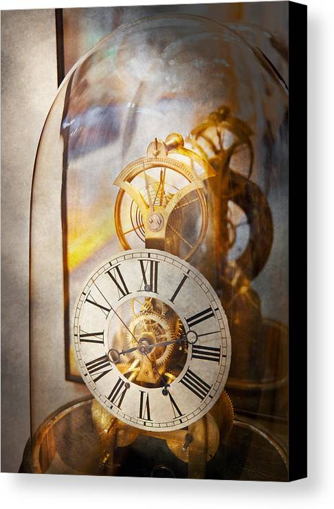 Clockmaker Canvas Print featuring the photograph Clockmaker - A Look Back In Time by Mike Savad