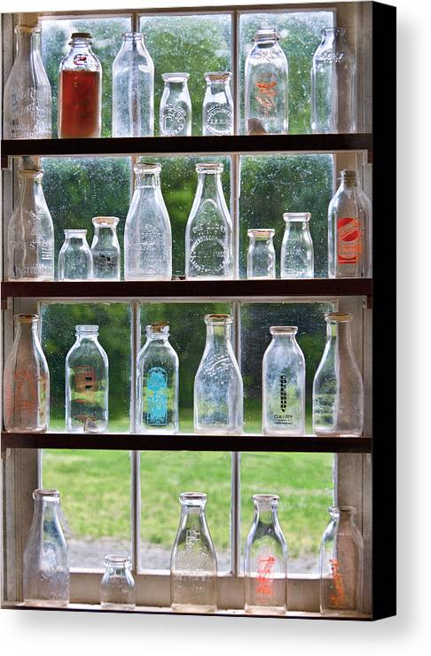 Milk Canvas Print featuring the photograph Collector - Bottles - Milk Bottles by Mike Savad
