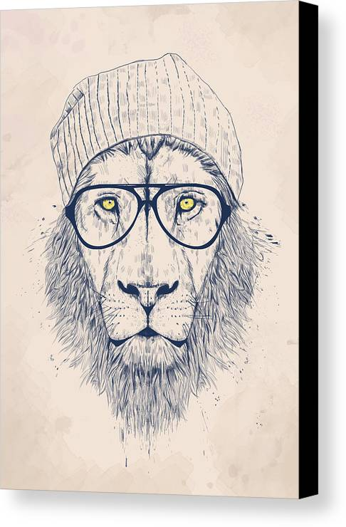 Lion Canvas Print Featuring The Digital Art Cool By Balazs Solti