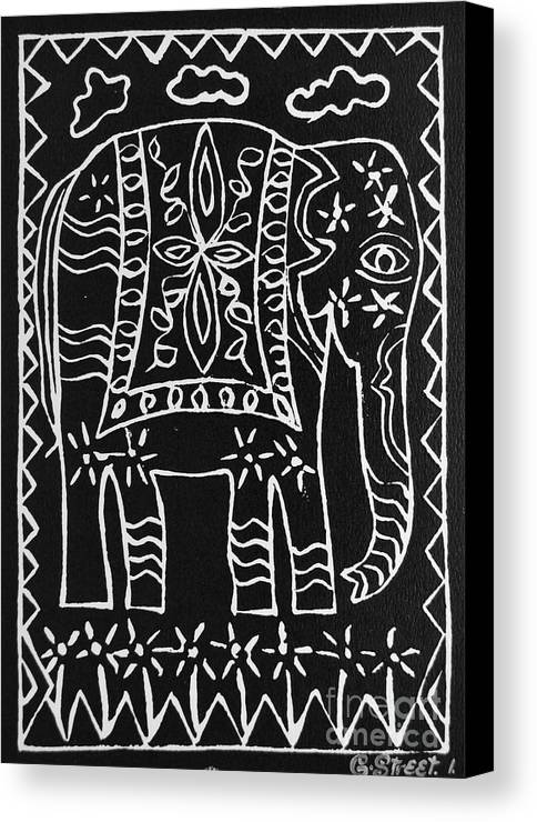 Lino Cut Canvas Print featuring the relief Decorated Elephant by Caroline Street