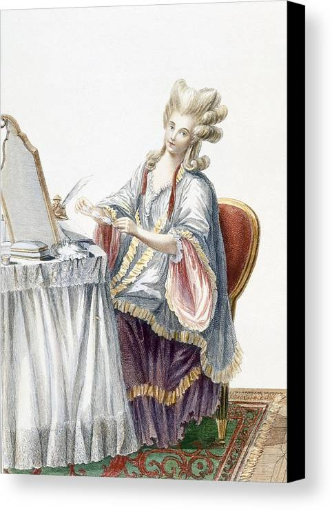 Hairstyle Canvas Print featuring the drawing Elegant Lady At Her Dressing Table by Pierre Thomas Le Clerc