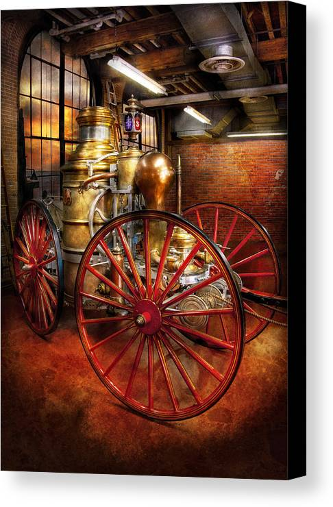 Suburbanscenes Canvas Print featuring the photograph Fireman - One Day A Long Time Ago by Mike Savad