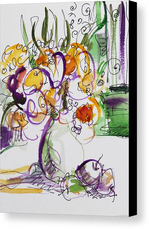 Flowers Canvas Print featuring the painting Flowers With Purple Hint by Becky Kim