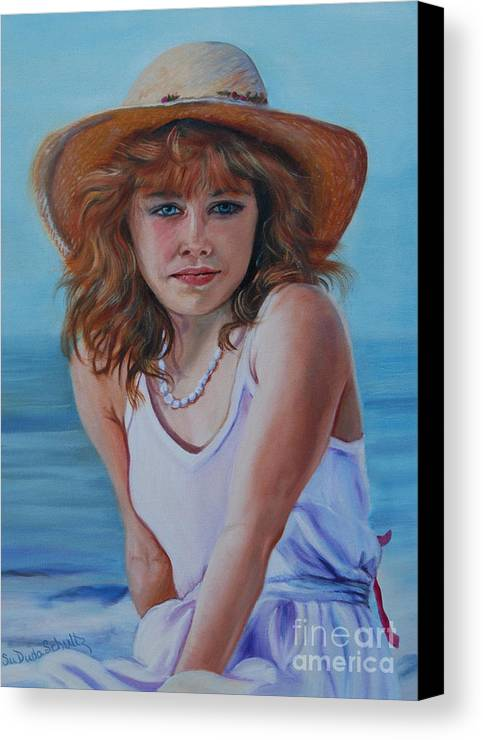 Girl Canvas Print featuring the painting Girl In The Straw Hat by Susan Duda