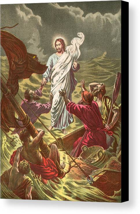 The Beautiful Story; Bible; Jesus Walking On The Water; Jesus Christ; Ship; Sea Of Galilee Canvas Print featuring the painting Jesus Walking On The Water by Anonymous